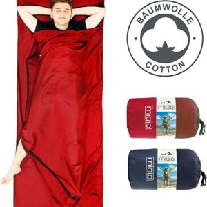 MIQIO 2in1 Cotton Sleeping Bag Liner and Lightweight XL 180x220cm